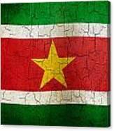 Grunge Suriname Flag Canvas Print