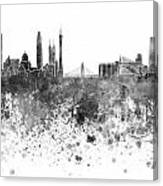 Guangzhou Skyline In Black Watercolor On White Background Canvas Print