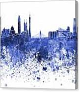 Guangzhou Skyline In Blue Watercolor On White Background Canvas Print