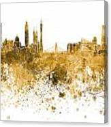Guangzhou Skyline In Orange Watercolor On White Background Canvas Print