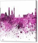 Guangzhou Skyline In Pink Watercolor On White Background Canvas Print