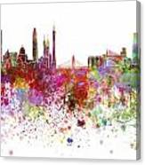 Guangzhou Skyline In Watercolor On White Background Canvas Print