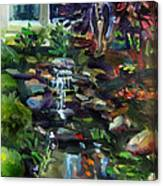 Guardian Angel And Koi Pond Canvas Print