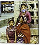 Guatemalan Two Girls With Grandmother Canvas Print