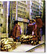 Guatemalan With Firewood Canvas Print