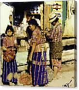 Guatemalan Family Shopping Canvas Print