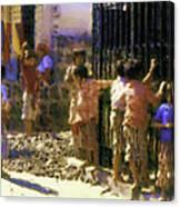 Guatemalan Line Of Boys Canvas Print