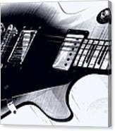 Guitar - Black And White Canvas Print