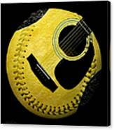 Guitar Yellow Baseball Square Canvas Print