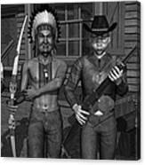 Gunfight At The Okey Dokey Corral - Black And White Canvas Print