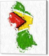 Guyana Painted Flag Map Canvas Print