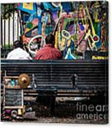 Guys On A Bench - Jackson Square Canvas Print