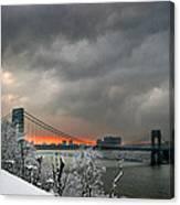 Gw Bridge In Winter Sunset Canvas Print