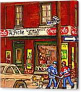 H. Piche Grocery - Goosevillage -paintings Of Montreal History- Neighborhood Boys Play Street Hockey Canvas Print