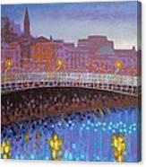 Ha Penny Bridge Dublin  Cropped Canvas Print