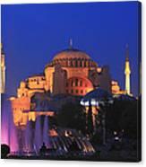Hagia Sophia At Night Istanbul Turkey  Canvas Print