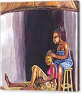 Hair Dresser In Rwanda Canvas Print