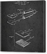 Hair Straightener Patent From 1909 - Charcoal Canvas Print