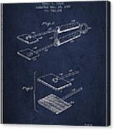Hair Straightener Patent From 1909 - Navy Blue Canvas Print