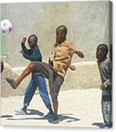 Haitian Boys Playing Soccer Canvas Print