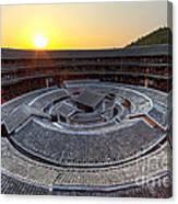 Hakka Tulou Traditional Chinese Housing At Sunset Canvas Print