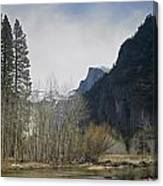 Half Dome And The Merced River In Winter Canvas Print