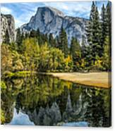Half Dome Reflected In The Merced River Canvas Print