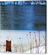 Half Frozen River Bank Canvas Print