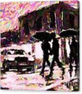 Halifax Nova Scotia On In The Rain Canvas Print