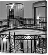 Hall And Stairs In Black And White Canvas Print