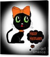 Halloween Black Cat Canvas Print