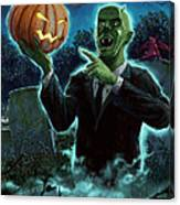 Halloween Ghoul Rising From Grave With Pumpkin Canvas Print