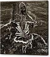 Halloween Green Skeleton Black And White Canvas Print