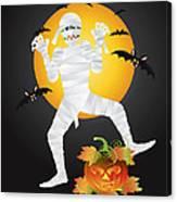Halloween Mummy Carved Pumpkin Illustration Canvas Print