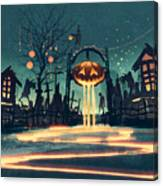 Halloween Night With Pumpkin And Canvas Print