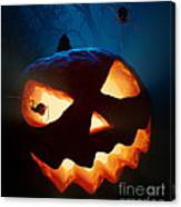 Halloween Pumpkin And Spiders Canvas Print