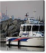 Halton Police Boat And Cn Tower Canvas Print