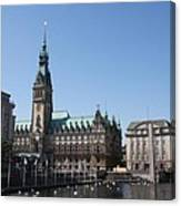 Hamburg - City Hall With Fleet - Germany Canvas Print
