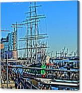 Hamburg Germany Sail Boat With Elbphilharmonie Canvas Print