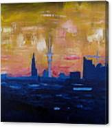 Hamburg Skyline At Dusk With Elbe Philharmonic Hall Canvas Print