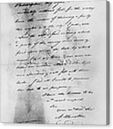 Hamilton: Letter, 1777 Canvas Print