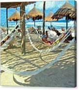 Hammocks And Palapas - Xel-ha Mexico Canvas Print