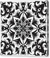 Hand Drawing Pattern For Tile In Black Canvas Print