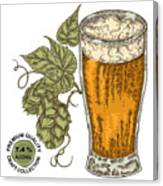 Hand Drawn Beer Glass With Hops Plant Canvas Print