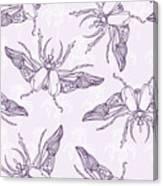 Hand Drawn Beetles Seamless Pattern Canvas Print