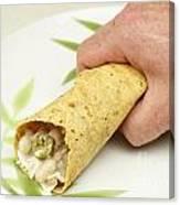 Hand Holding A Burrito Canvas Print