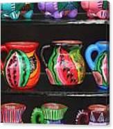 Hand Painted Ceramics Playa Del Carmen Mexico Canvas Print