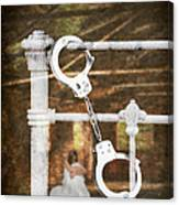 Handcuffs On Bed Canvas Print