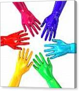 Hands Colorful Circle Reaching Inwards Canvas Print