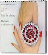 Hands Holding A Coro Rhinestone Pin Canvas Print